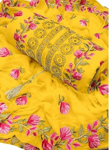 Exceeding Yellow Embroidered Chanderi Cotton Desig