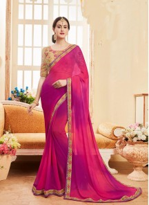 Excellent Georgette Patch Border Work Shaded Saree