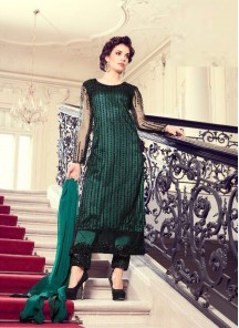 Excellent Green Net Embroidery Work Pant Style Salwar Suit