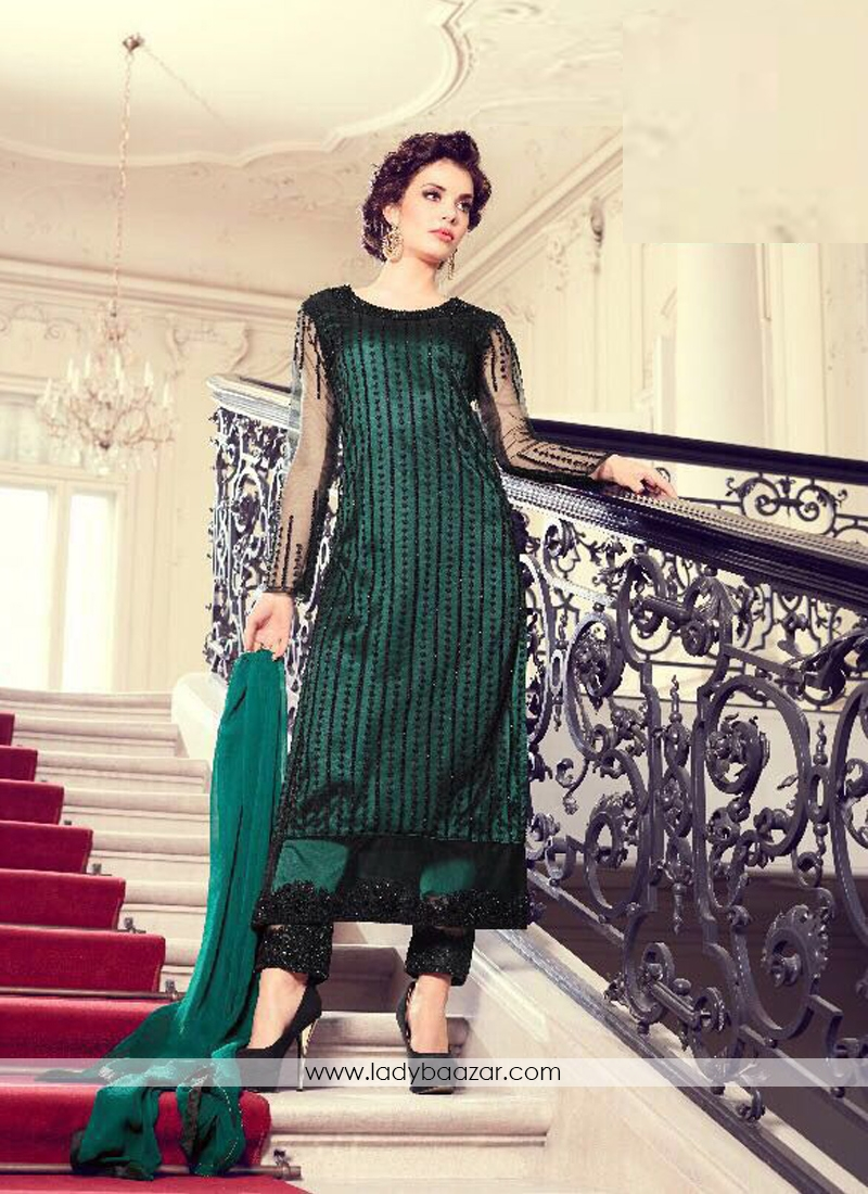 4e2b584420 Excellent Green Net Embroidery Work Pant Style Salwar Suit