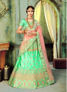 Excellent Green Senorita Silk Zari Lehenga Choli