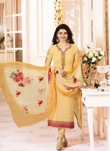 Excellent Yellow Embroidery N Printed Georgette Suit