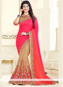 Exciting Beige And Pink Lace Work Designer Half N Half Saree