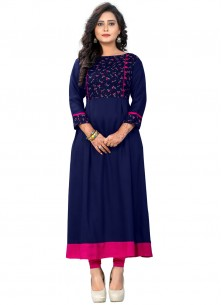 Exciting Blue Rayon Party Wear Kurti