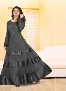 Exciting Embroidered Work Net Grey Designer Gown