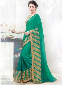 Exciting Green Embroidery  Work Designer  Saree