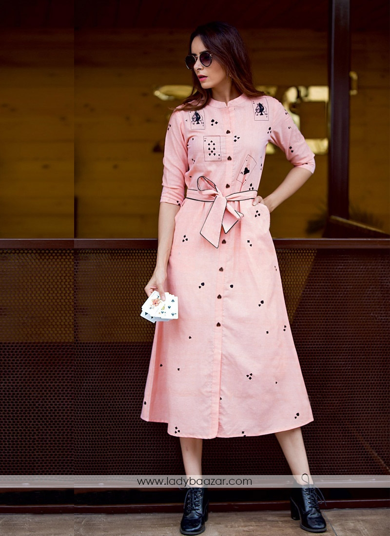 Exciting Pink Rayon Embroidery Work Western Kurti