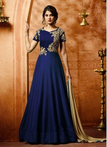 Extraordinary  Blue Embroidered With Stone  Work Faux Georgette  Anarkali Suit