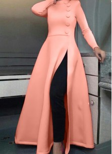 Extraordinary Scuba Peach Color Party Wear Long Cut Kurti