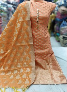 Extraordinary weaving Banarasi Jacquard Festival Dress Material