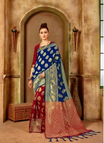 Extraordinary Weaving Banarasi Silk Hot Half Half Designer Traditional Saree