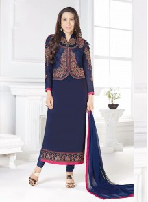 Exuberant  Navy Blue Georgette Embroidery Work Straight Suit