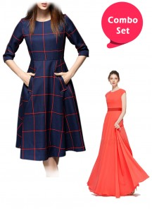 Eye-catching Georgette Gown & Cotton Twill  Western Wear - Pack of 2