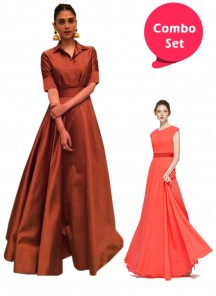 Eye-catching Gorgette & Cooper Brown Tapeta Silk Readymade Gown - Pack of 2