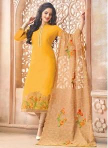 Fab Yellow Pure Chanderi Salwar suit