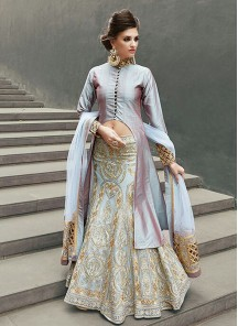 Fab Net and Georgette embroidered work Anarkali Suit