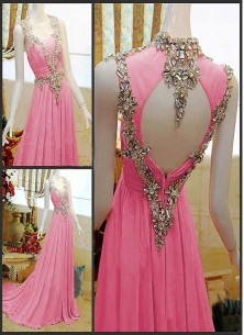 Fab Pink Georgette Hand work Gown