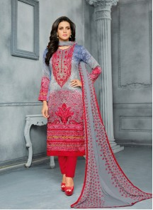 Fabulous Cotton Embroidery With Printed Dress