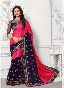 Fabulous Georgette Pink And Navy Blue Designer Half N Half Saree