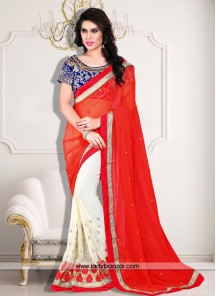 Fabulous Patch Border Work Designer Saree