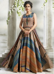 Fancy Digital Print Stiched  Designer Gown