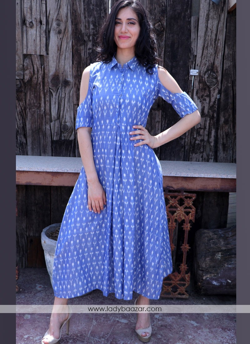 Fantastic Blue Digital Print Cotton Twill Party Western Ware