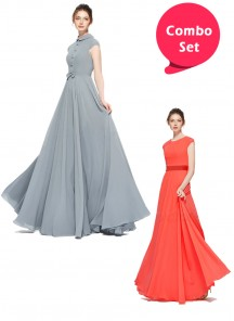 Fantastic Gorgette & Floor Length 10 Meter Flared Gowns - Pack of 2
