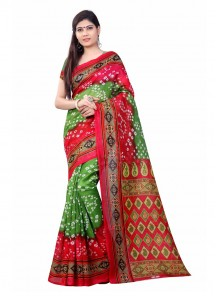 Fascinating Bhagalpuri Silk Green With Red Bandhani Saree
