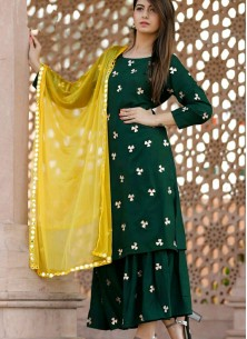 Fashionable Faux Georgette Thread Embroidered Designer Palazzo Suit