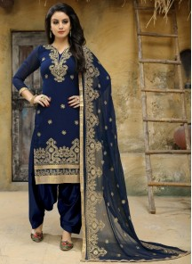 Faux Georgette Embroidered Blue Punjabi Suit