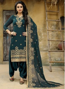 Faux Georgette Embroidered Teal Punjabi Suit