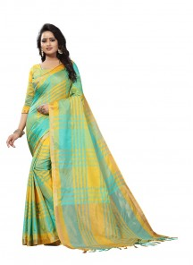 Festal Cotton Silk Yellow With Turquoise Printed Saree