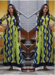 Festal Digital Print Cotton Twill Party Wear Gown