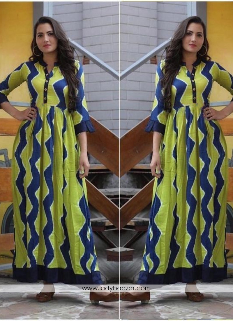 Festal Digital Print Cotton Twill Party Wear Gown Style Western Kurti