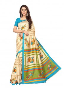 Festal Multi Color Printed Bhagalpuri Silk Saree