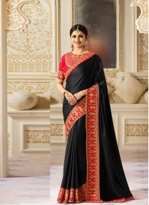 Fetching Black Embroidery Work  Designer Saree