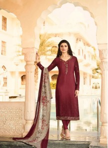 Fetching Maroon Embroidery N Printed Salwar Suit