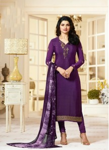 Fetching Purple Crepe Embroidery N Printed Designer Suit