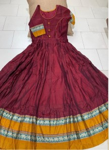 Flamboyant Maroon Colored Partywear Printed Less Satin Silk Trendy Gown