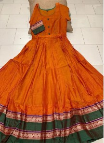 Flamboyant Orange Colored Partywear Printed Less Satin Silk Trendy Gown