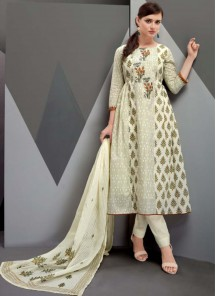 Flamboyant Print Work Satin Multi Straight Suit