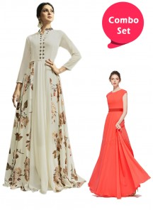 Flattering Gorgette Gown & Georgette Cream Color Flared Dress - Pack of 2