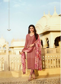 Flattering Red Embroidery Work Crepe Churidar Suit