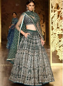 Flawless Satin Green Embroidered Work Designer Lehenga Choli
