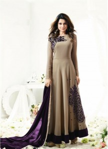Beige Two Tone Silk Floor Length Anarkali Suit