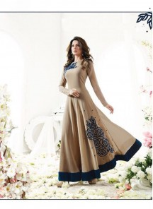 Beige Floor Length Embroidery Anarkali Suit