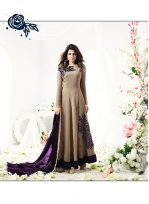 Beige Floor Length Two Tone Silk Anarkali Suit