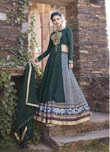 Floral Anarkali Lehenga Style Gown For Reception