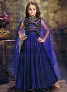 Floral Style Blue Silk With Net Gown For Cute Baby