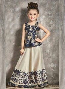 Floral Style Denim Blue Gown For Cute Baby